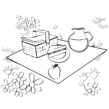 Picnic Coloring Book Page