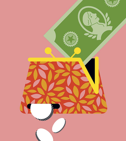 money in purse illustration