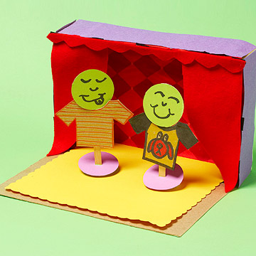 Cereal box puppet theater