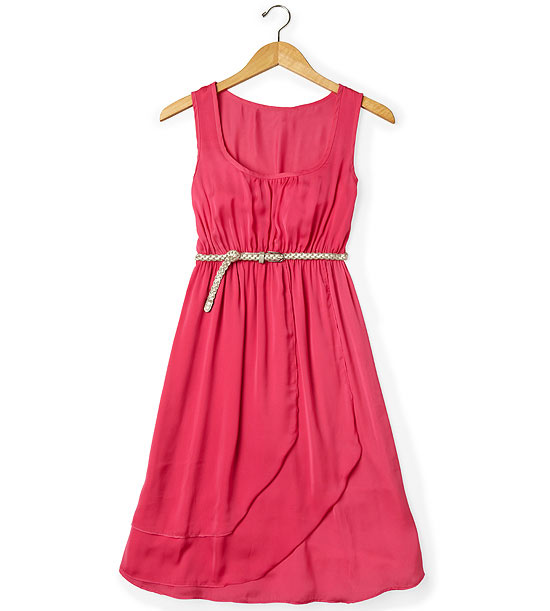Bright pink sleeveless dress with thin gold belt
