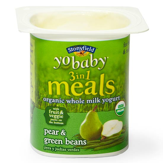 Stonyfield YoBaby 3 in 1 Meals; Apple & Sweet Potato, Pear & Green Beans
