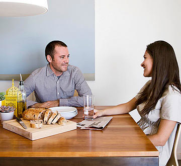 Couple at kitchen table