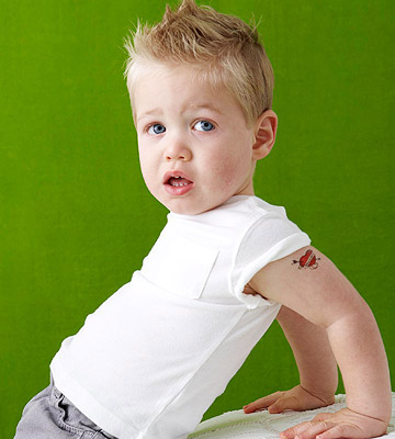 child with temporary tattoo