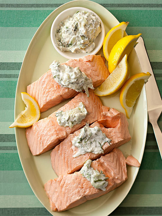 Oven-Poached Salmon with Cucumber Yogurt Sauce