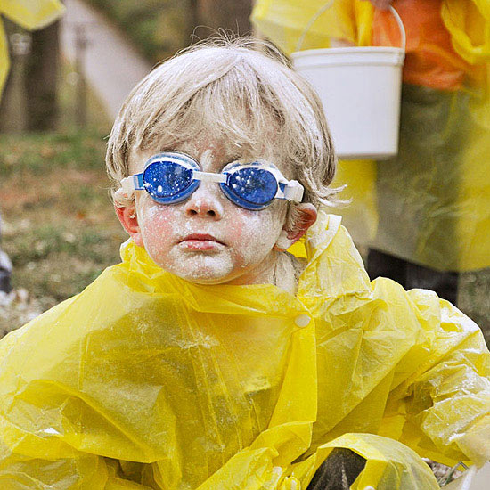 boy covered in flour