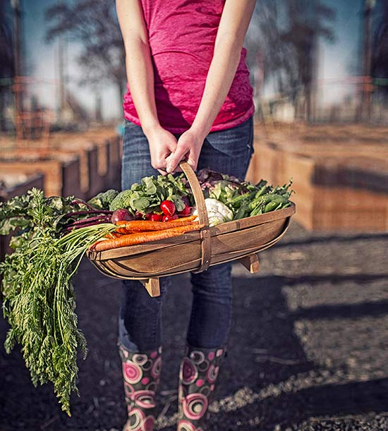 holding basket of vegetables