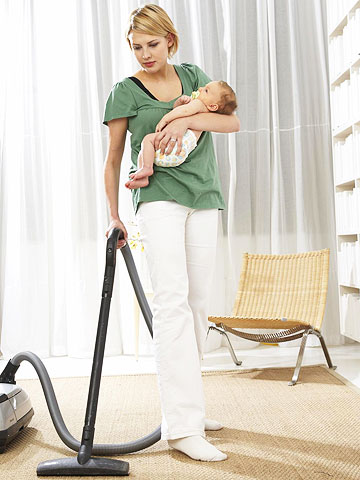 vacuuming with baby