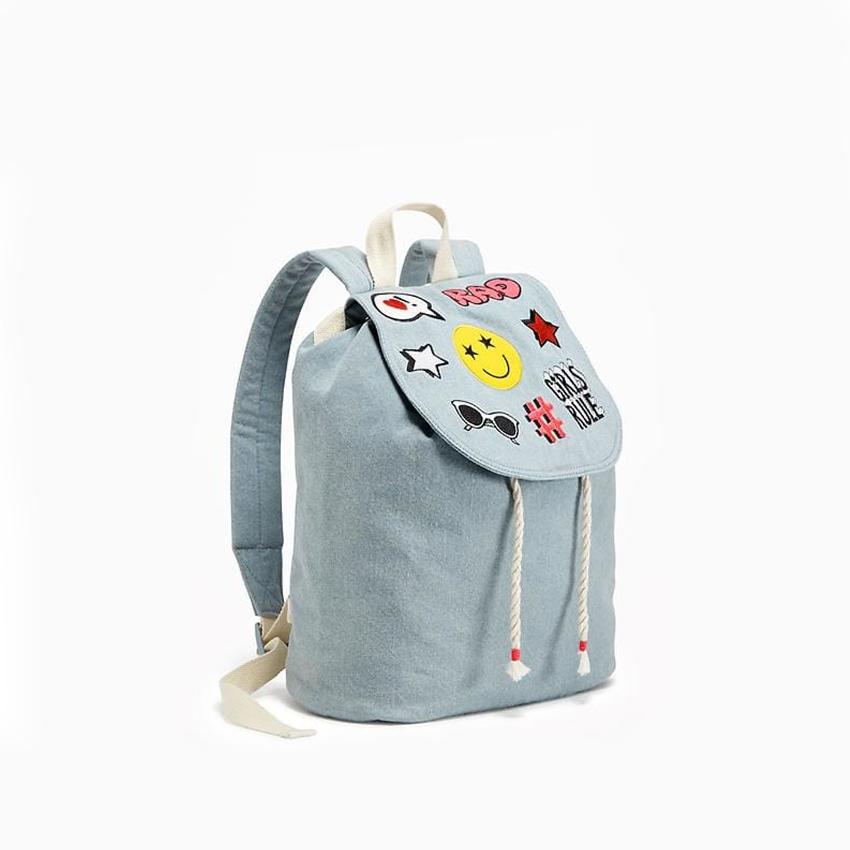 Embroidered draw string backpack