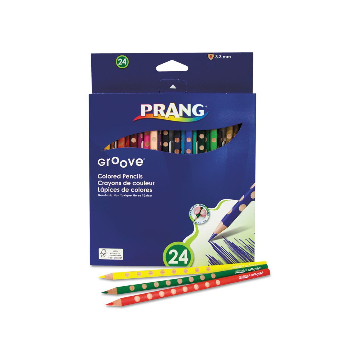 Grooved colored pencils with a triangular shape