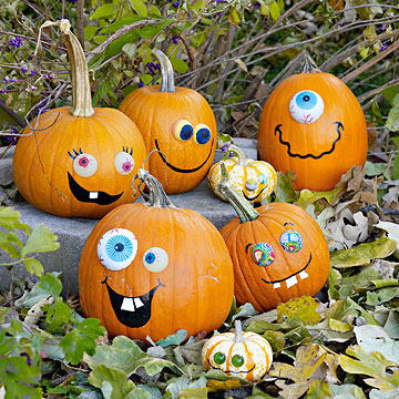 Goofy pumpkin faces