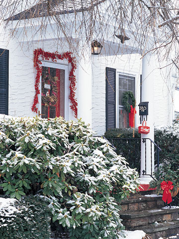 Front entrance with red garland