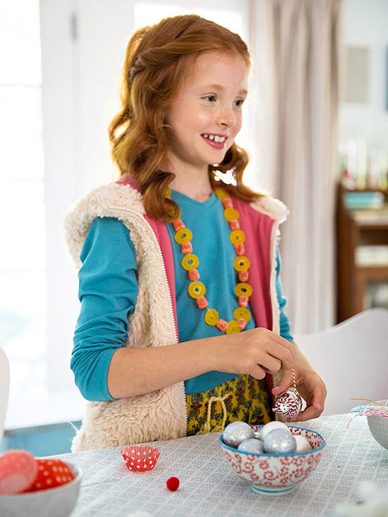 Girl wearing candy necklace