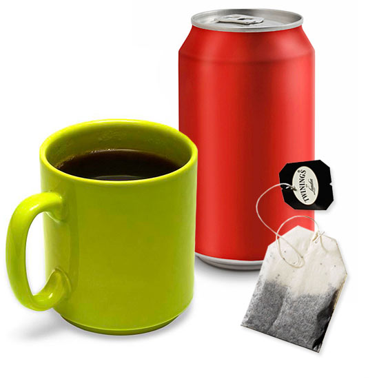 caffeinated beverages (coffee, soda, tea)