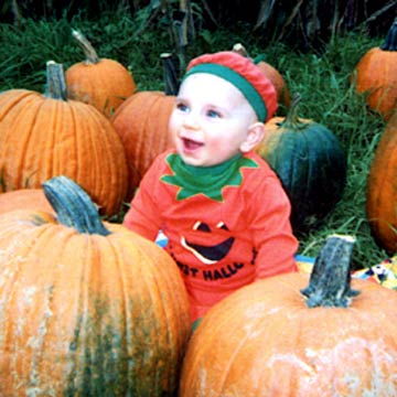 Baby In Pumpkin Costume In Pumpkin Patch