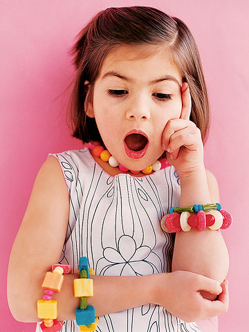 Young Girl Wearing Candy Jewelry