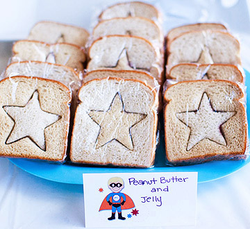 star peanut butter-and-jelly sandwiches