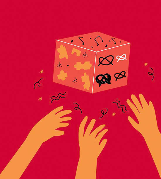 Illustration of hands on cube