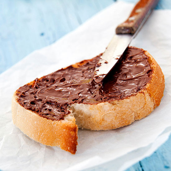 bread covered with melted chocolate