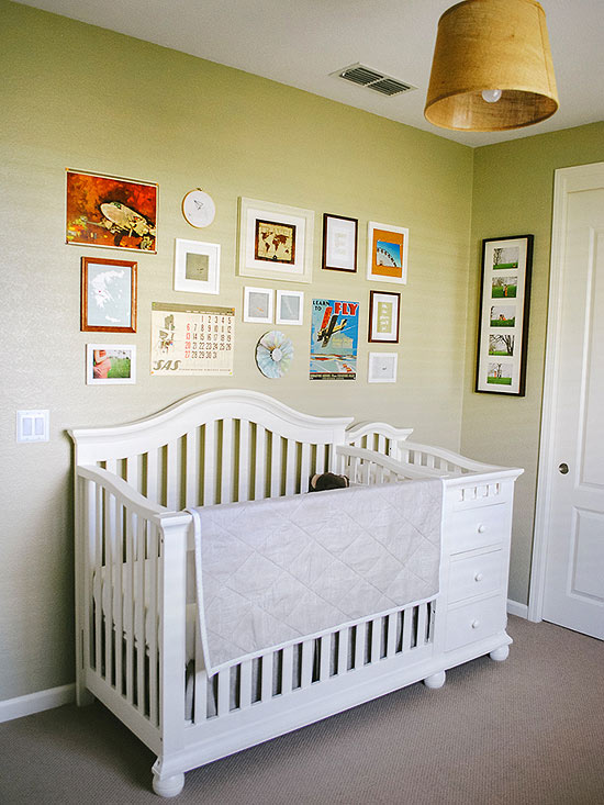 Travel themed crib area
