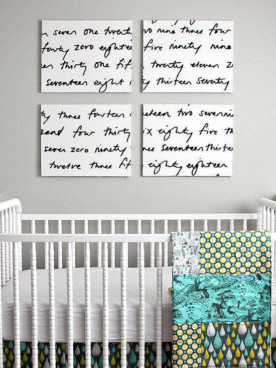 White crib with patterned blanket