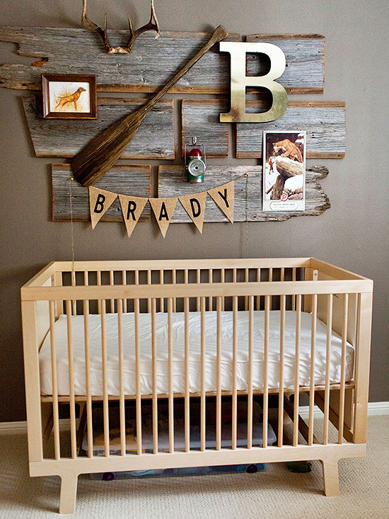 Crib with hunting wall