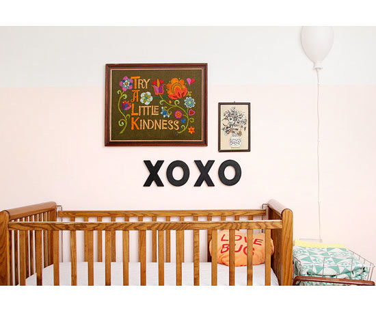XOXO artwork over crib
