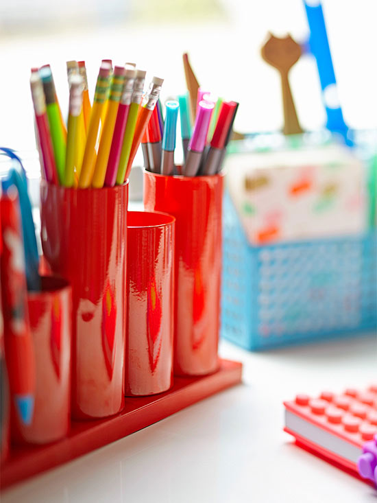 Red pencil holder