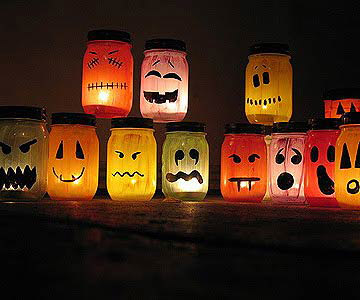 Painted-Pumpkin Jar Luminaries