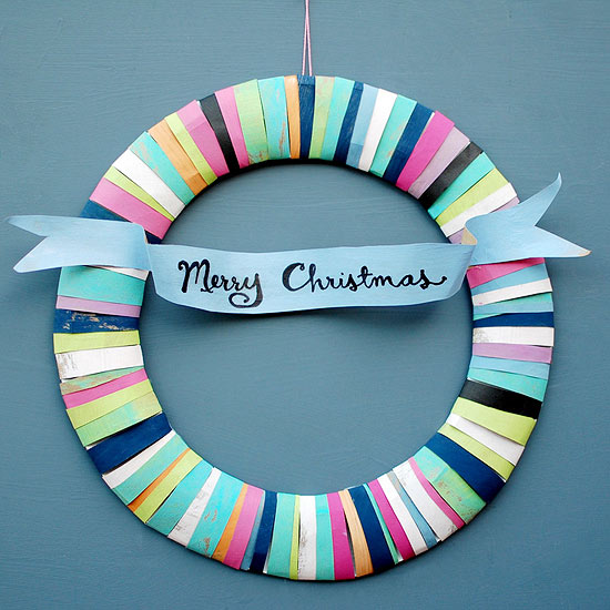 Merry and Bright Paper Bag Wreath