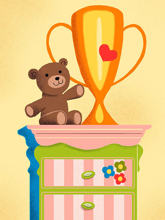 Teddy bear and trophy atop dresser illo