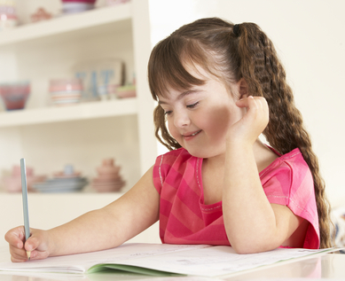 Girl with Down Syndrome Drawing