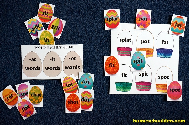 Word Family Game -at -it -ot words