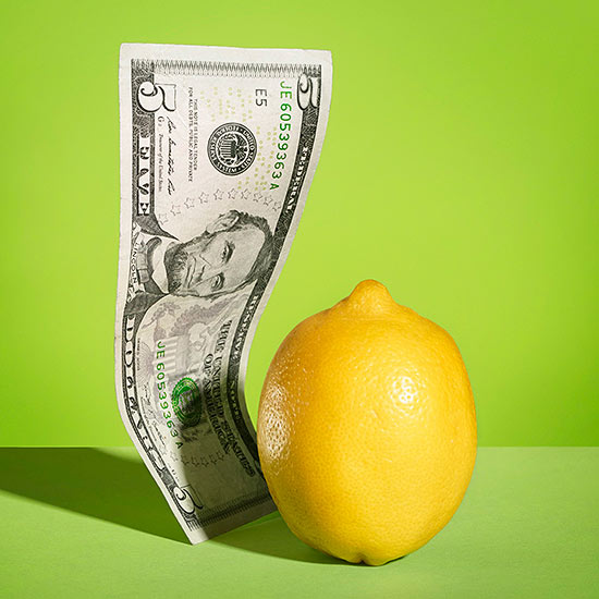 Push a $5 bill through a lemon