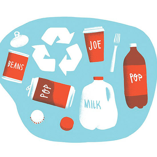 Can of beans, pop, joe, jug of milk and a recycle sign