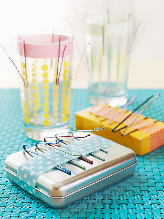 Metal tin with bobby pins