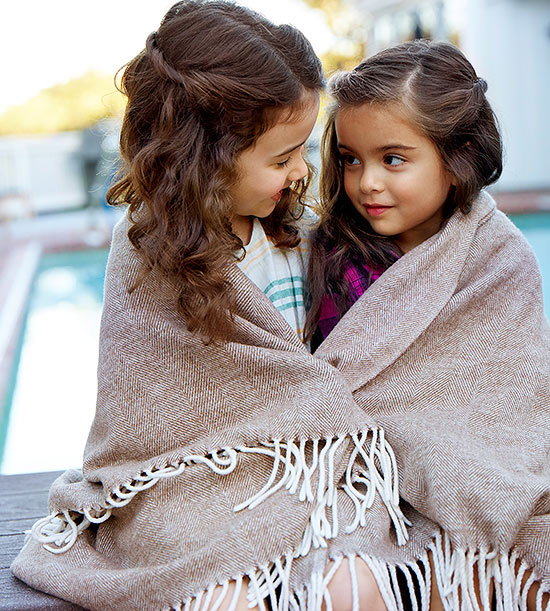 Girls in blanket