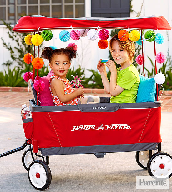 Kids in Radio Flyer Wagon