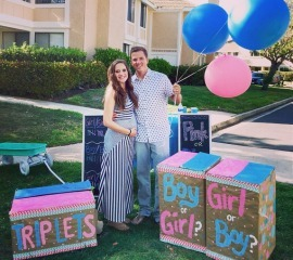 Triplet gender reveal surprise