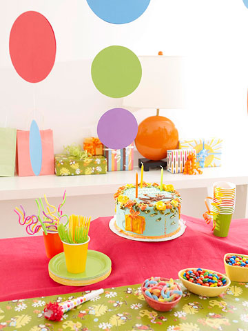 A birthday party setup