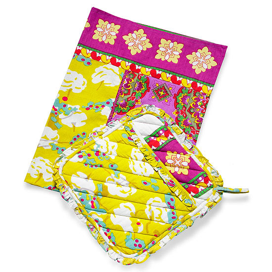 Boho Gift: Patterned Towel & Oven Mitt