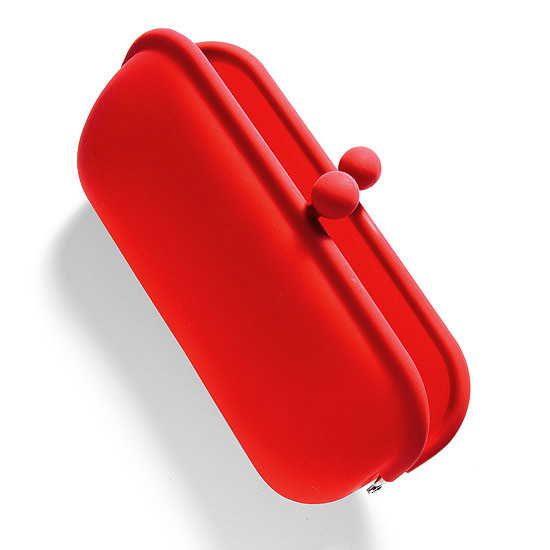 bright red eyeglass case