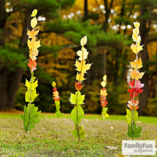 Leaf-and-stick totem towers