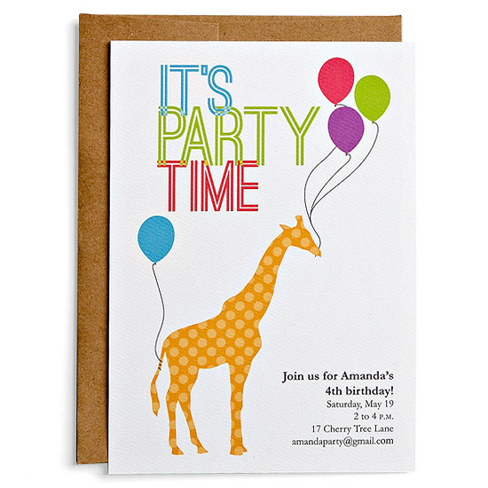 Giraffe birthday party invitation