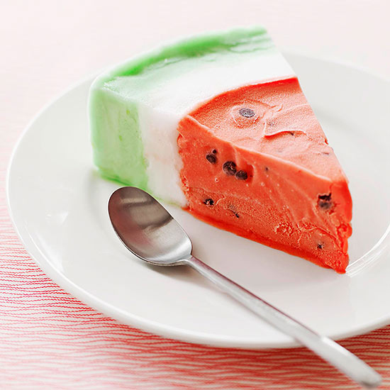 Watermelon sorbet slice with chocolate chips