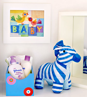 bucket of essentials with BABY print in Ultimate Nursery