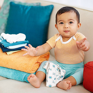 Baby with laundry