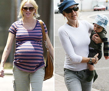 Naomi Watts before and after pregnancy