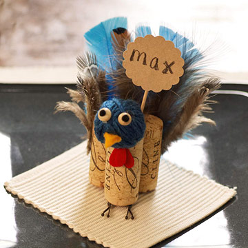 cork turkey place card