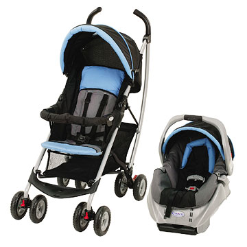 Graco Mosaic Travel System, blue, black and silver
