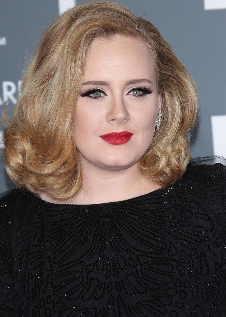 Adele black dress red lips
